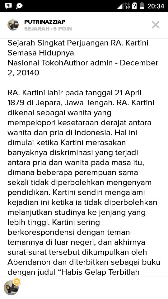 Tolong Dong Buatin Contoh Cerpen Tentang Raden Ajeng Kartini Please