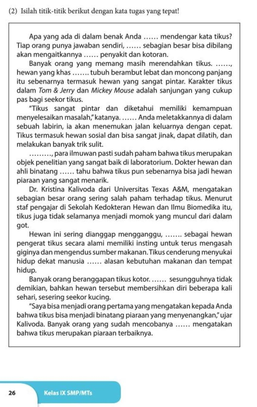 Jawaban Buku Bahasa Indonesia Kelas 9 Semester 1 K13 Halaman 26 27 Brainly Co Id