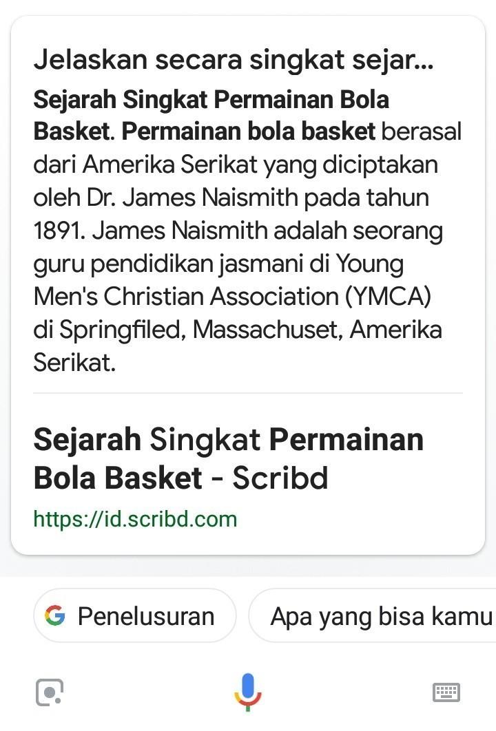 Jelaskan Sejarah Terciptanya Permainan Bola Basket Brainly Co Id