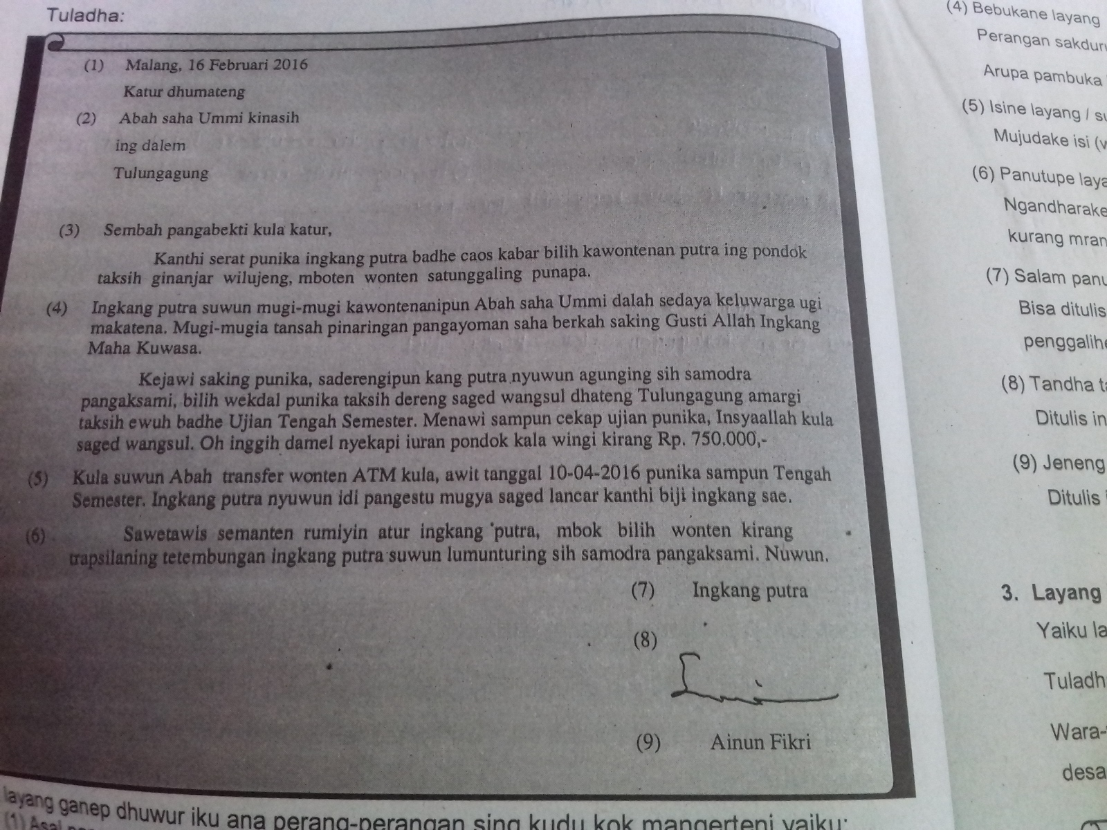 Contoh Surat Pribadi Untuk Orang Tua Dalam Bahasa Daerah Brainly Co Id