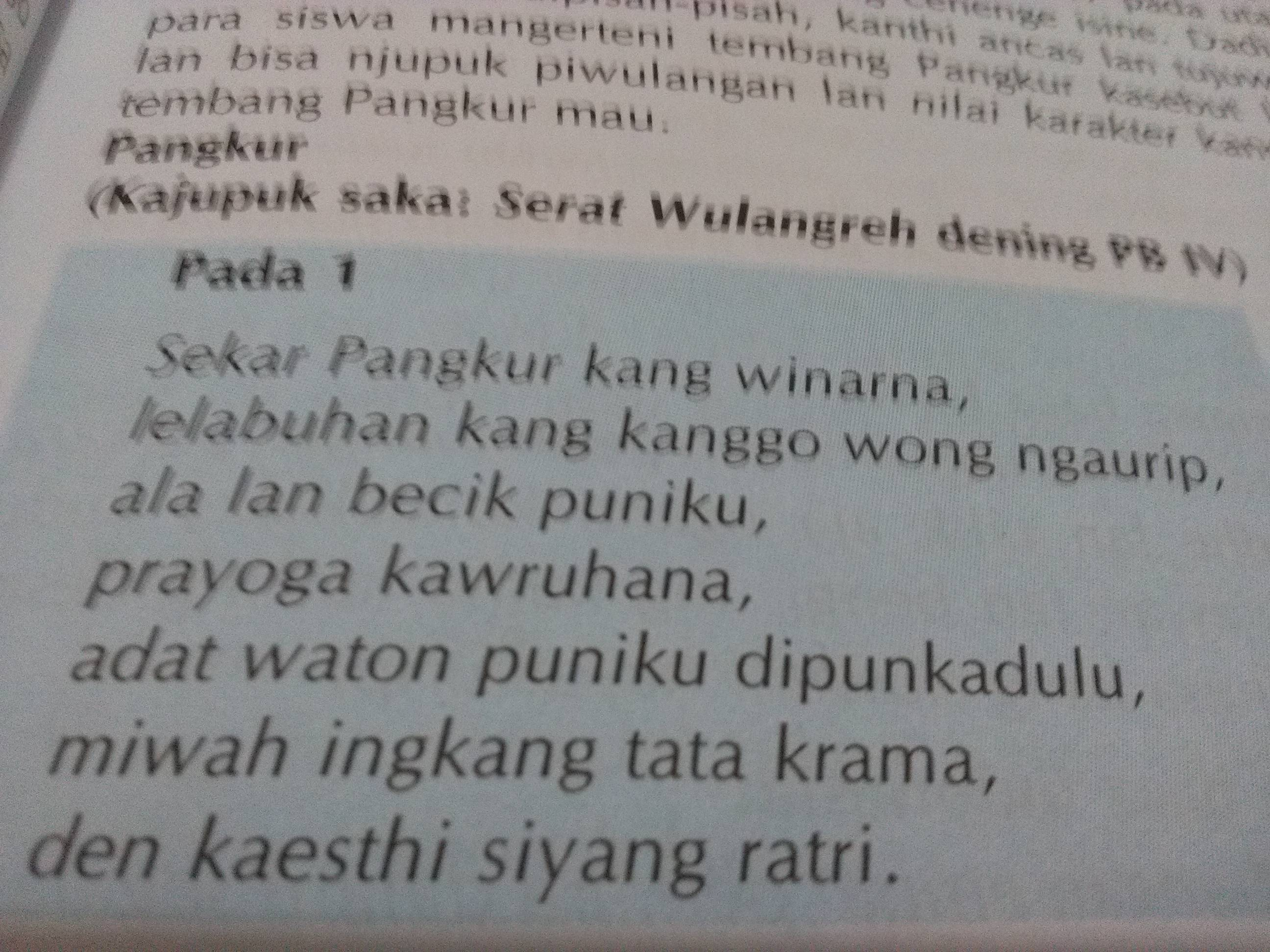 Mengganti Tulisan Tembang Pangkur Dgn Aksara Jawa Brainly Co Id