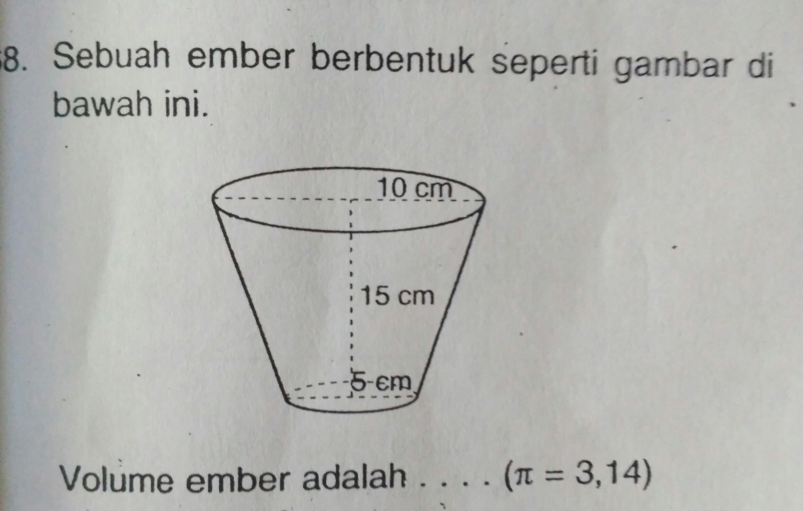 Sebuah ember berbentuk seperti gambar dibawah ini. Volume ...