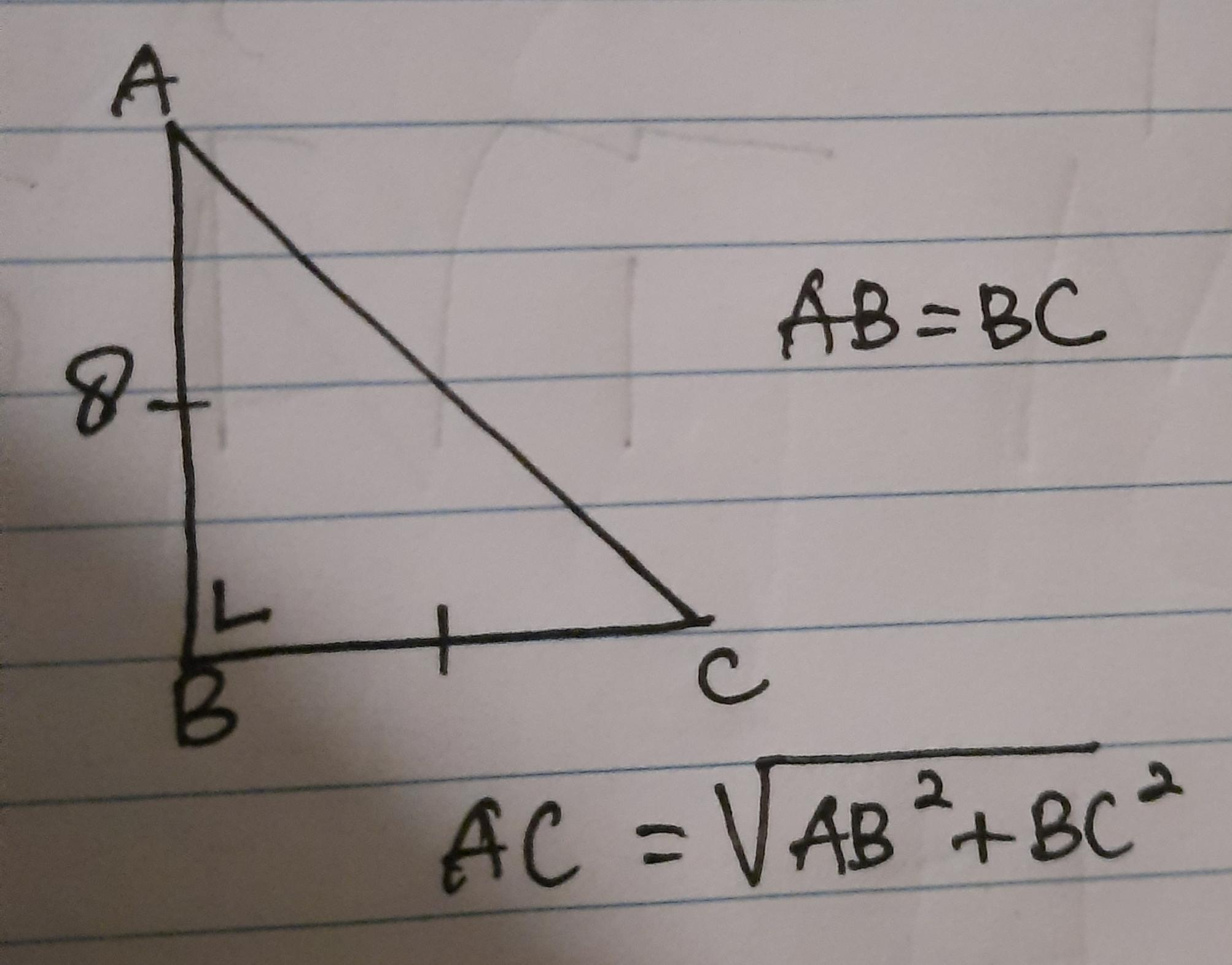 ABC adalah segitiga siku siku sama kaki sudut B=20°, panjang AB=20 ...
