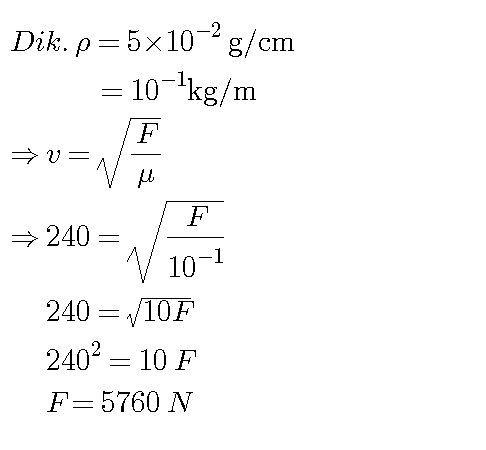 massa jenis linier sebuah dawai adalah 5 x 10^-2 g/cm ...