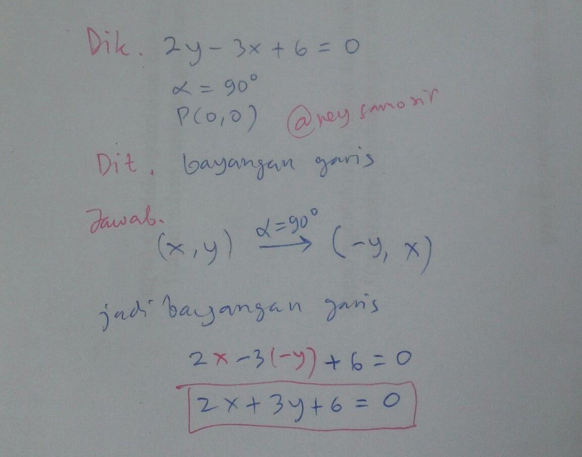 2y - 3x + 6 = 0 hitunglah dilatasi dengan pusat p(0,0) dan ...
