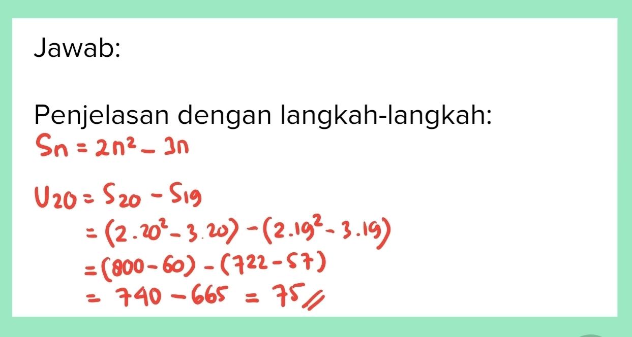 Rumus jumlah n Suku pertama dari suatu deret aritmatika ...