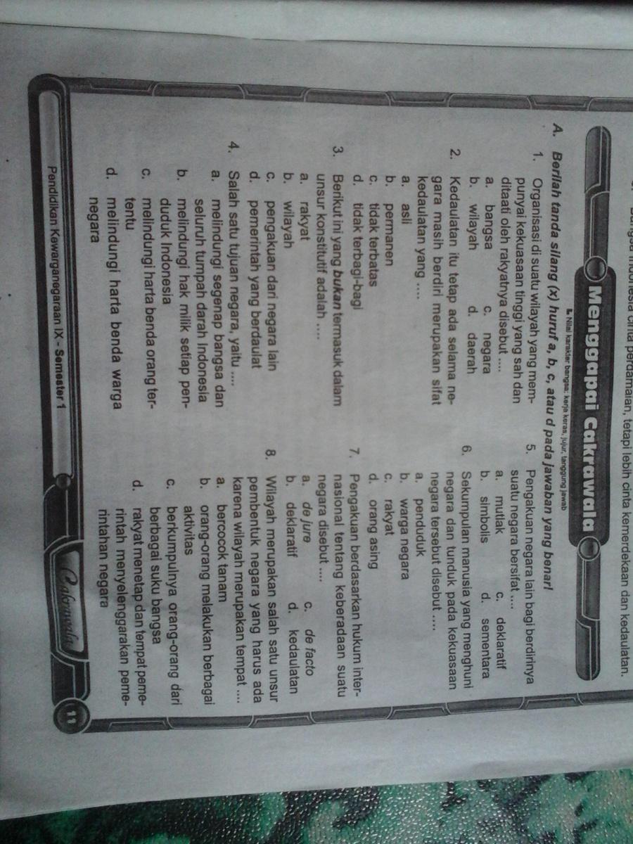 Soal Pkn Kelas 9 Bab 1 Guru Galeri