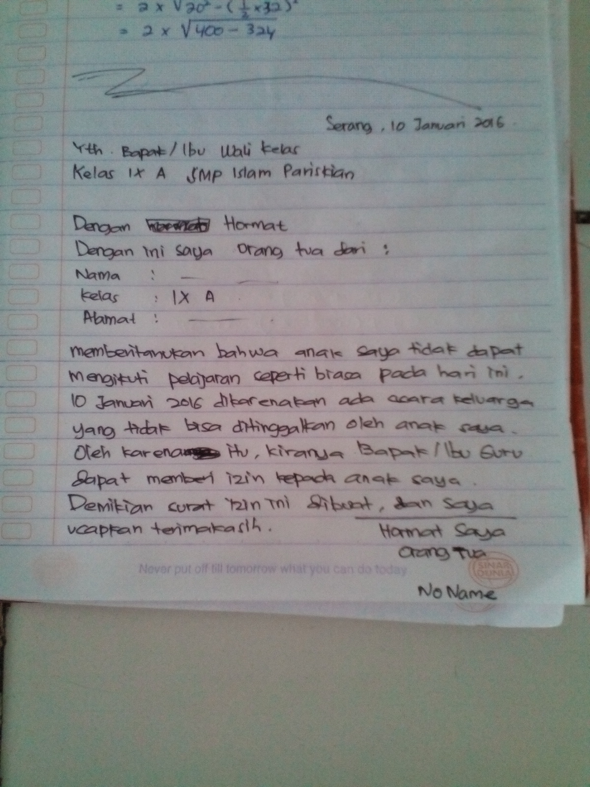 Tuliskan Contoh Surat Izin Tidak Masuk Sekolah Karena Ada