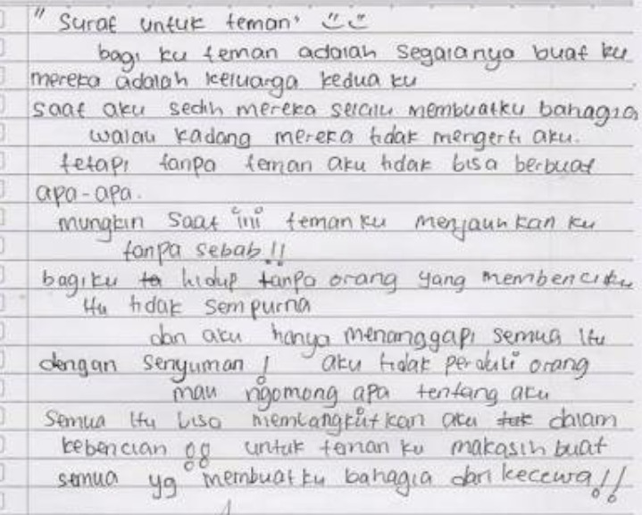 Contoh Surat Personal Letter Untuk Teman Brainlycoid
