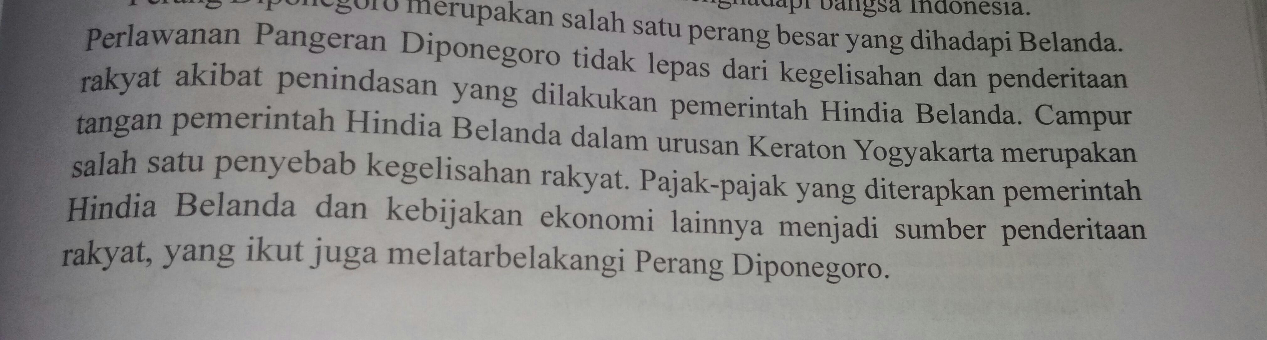 Sebab Khusus Terjadinya Perang Diponegoro Adalah ...