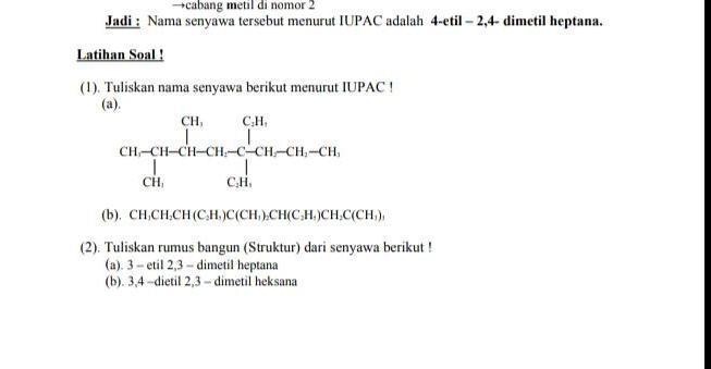 1 Tuliskan Nama Senyawa Berikut Menurut Iupac A Brainly Co Id