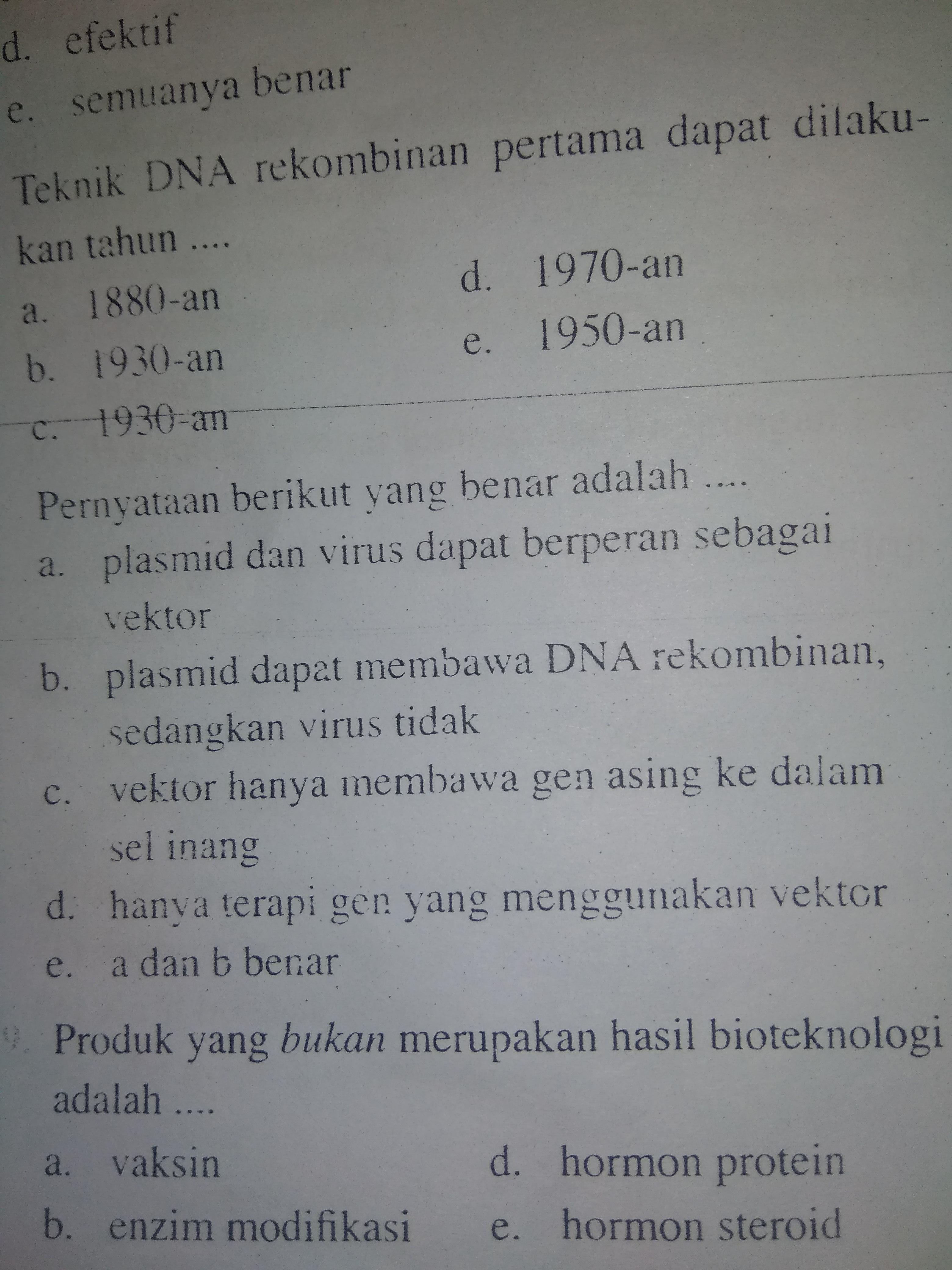 Pernyataan Berikut Yang Benar Adalah A Plasmid Dan Virus Dapat Berperan Sebagai Vektor B Brainly Co Id