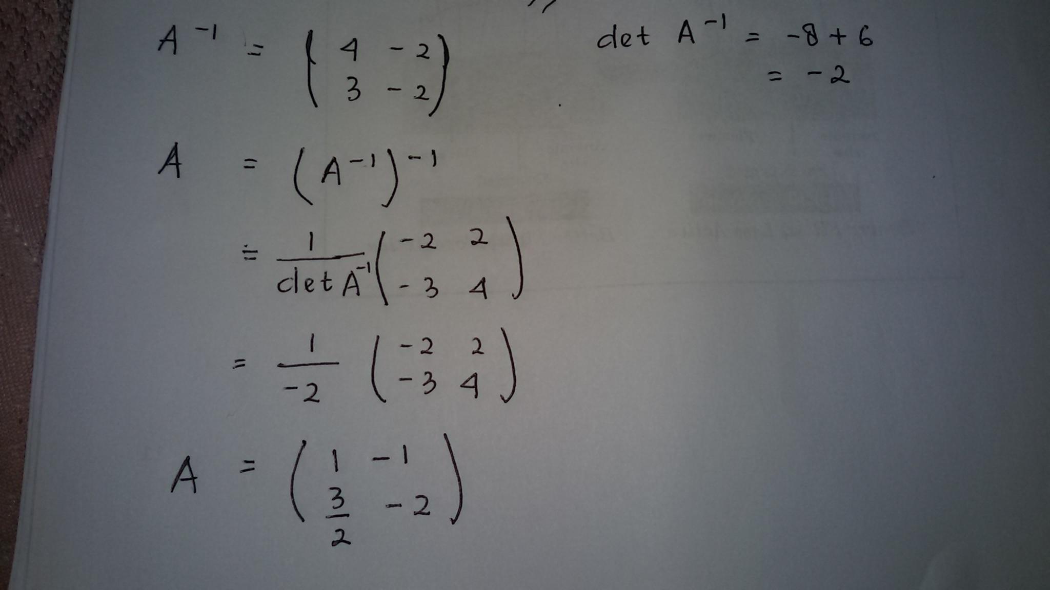 Buatlah Matriks A Berordo 2x2 Yang Memiliki Invers Matriks A 1 4 2 Brainly Co Id