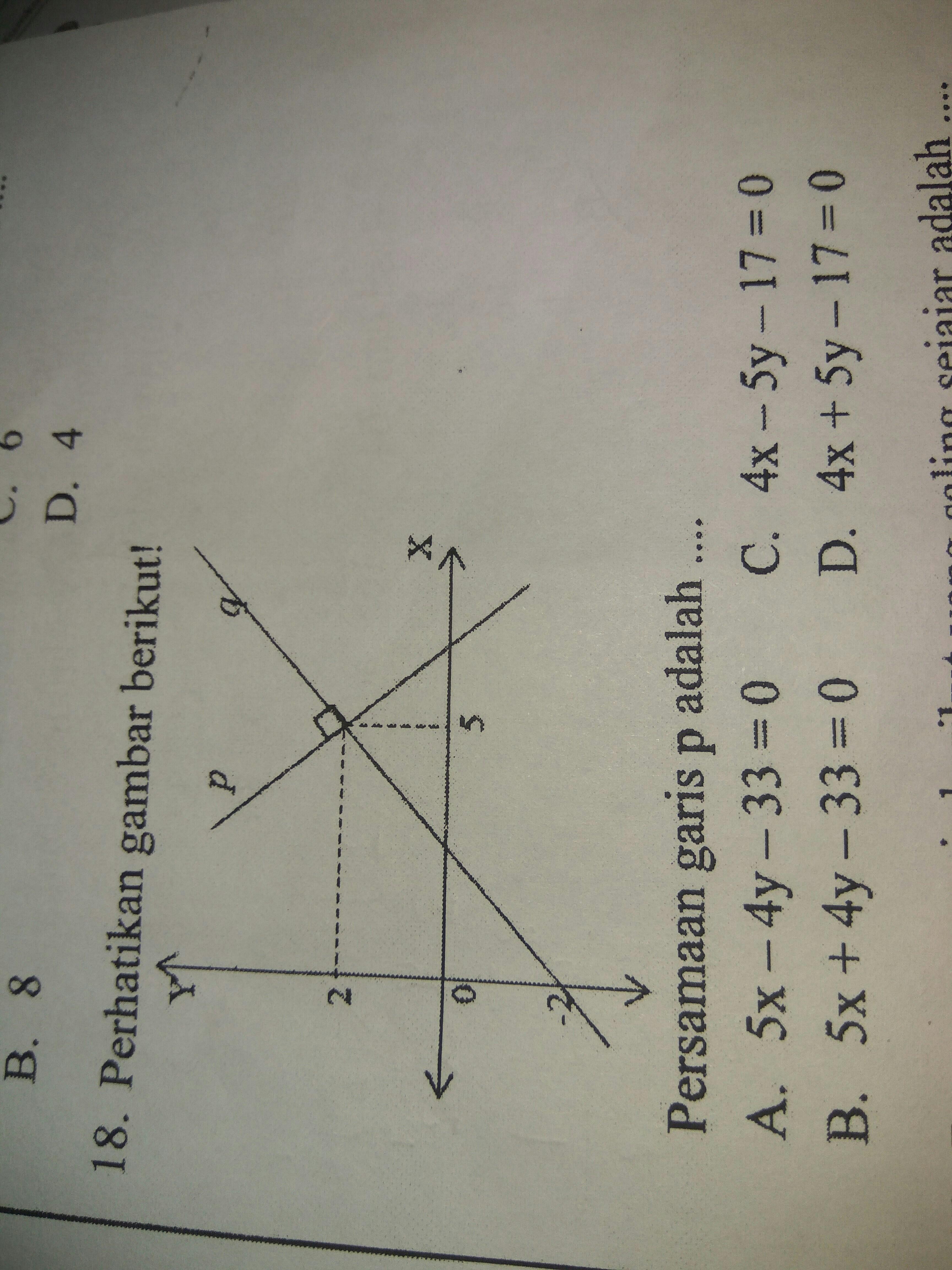perhatikan gambar dibawah ini! persamaan garis p adalah ...