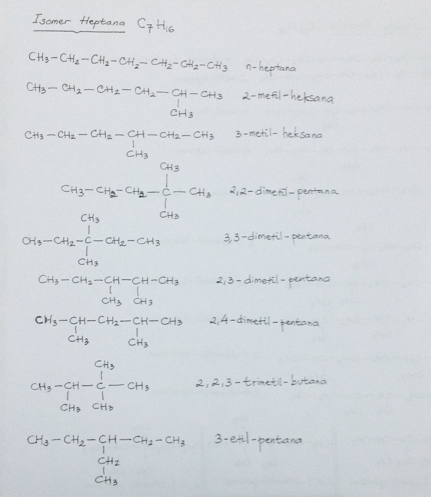 tuliskan isomer dari senyawa heptana dan oktana - Brainly ...
