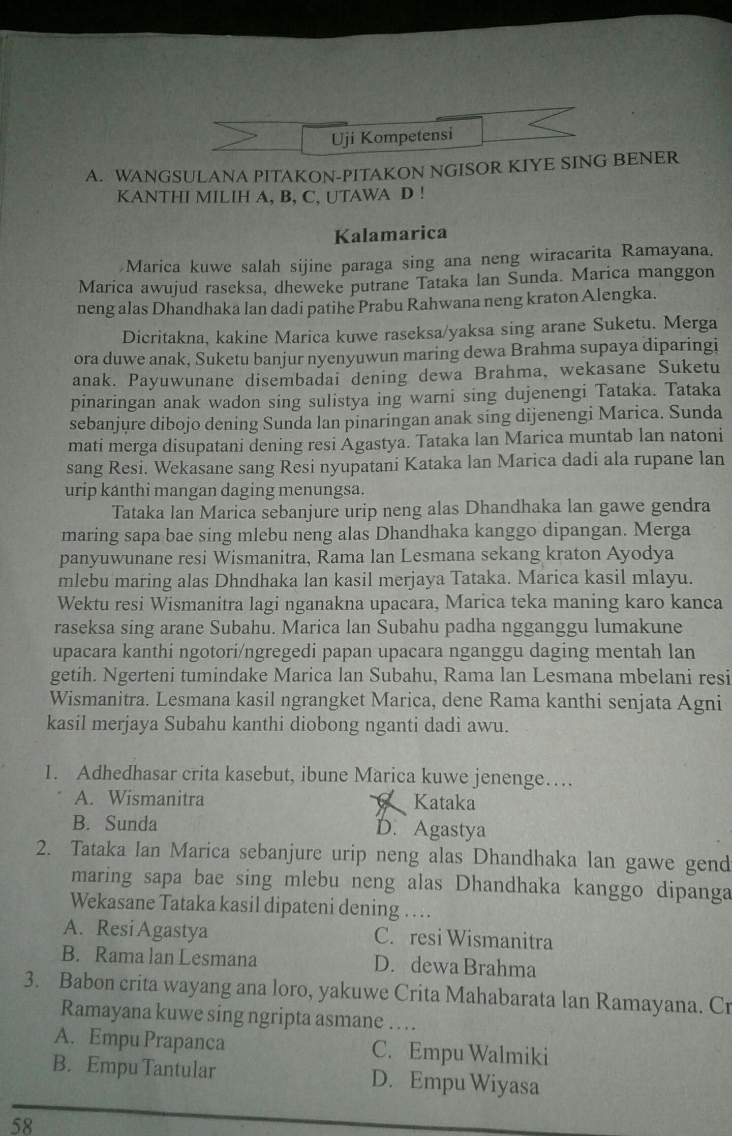 Jawaban Uji Kompetensi Wulangan 3 Bahasa Jawa Kelas 8 ...