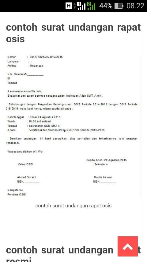 Contoh Surat Dinas Undangan Osis