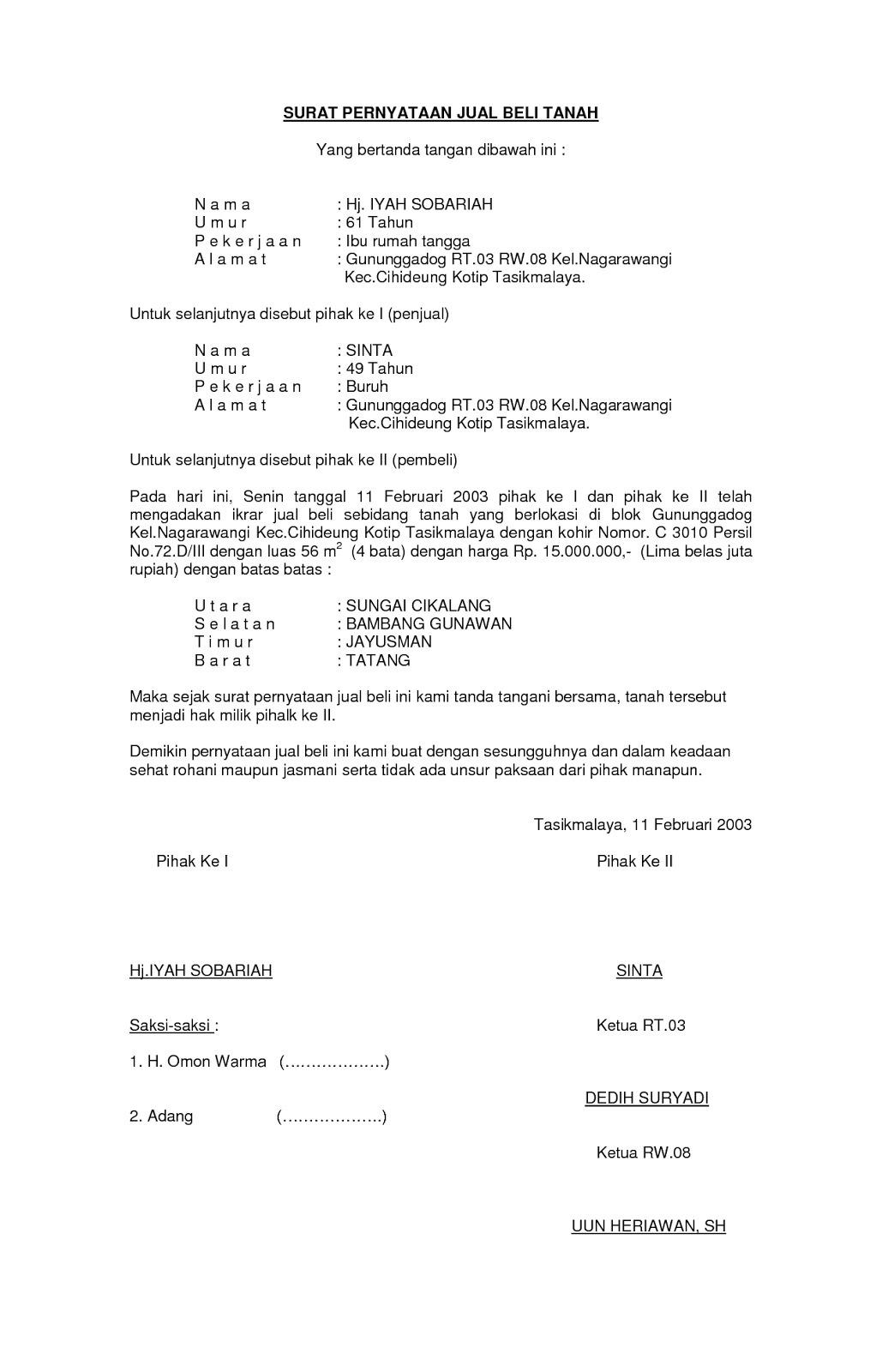 Contoh Surat Perjanjian Jual Beli Brainlycoid