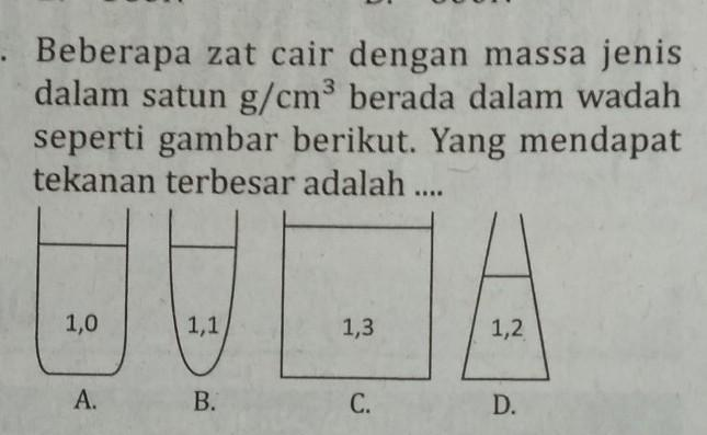 Beberapa zat cair dgn massa jenis dalam satuan g/cm³ berapa dalam wadah  seperti gambar berikut yang - Brainly.co.id