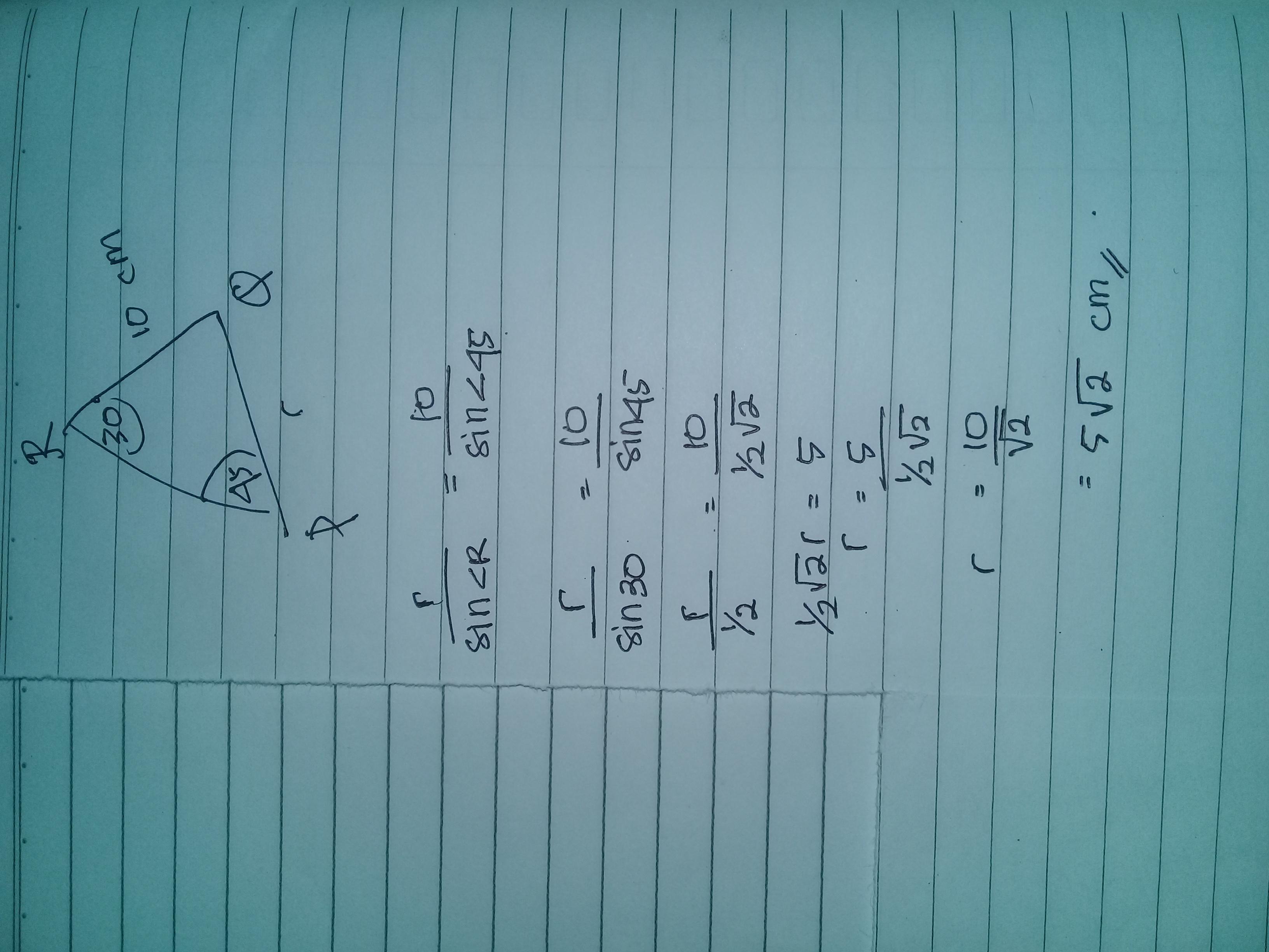 diketahui sudut P=45 derajat sudut R=30 derajat dan ...