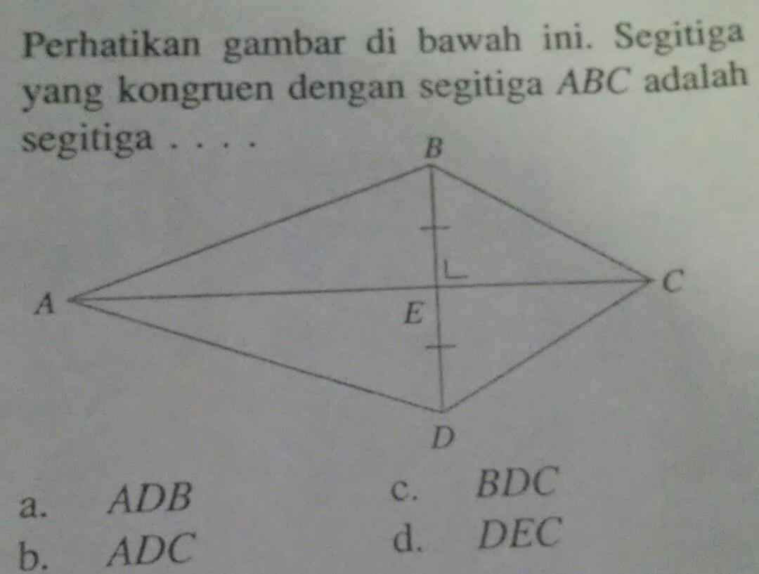 perhatikan gambar di bawah ini segitiga yang kongruen ...