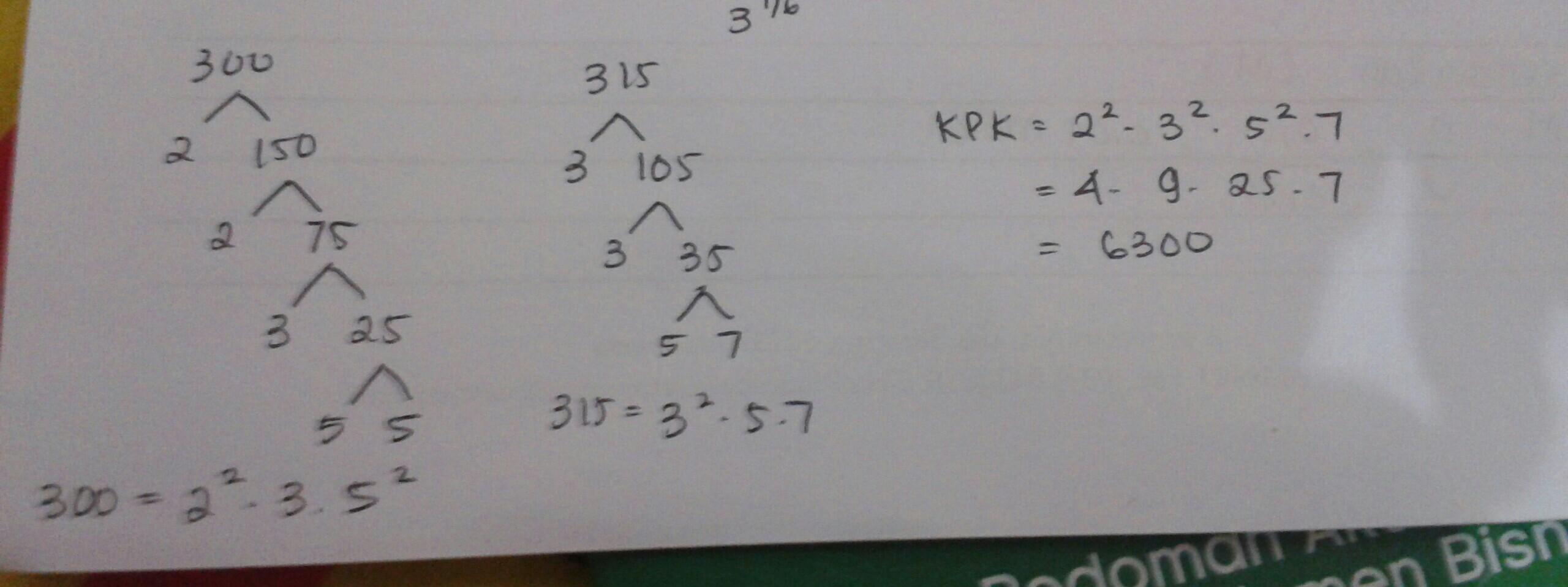 KPK dari 300 dan 315 dalam bentuk faktorisasi prima adalah ...