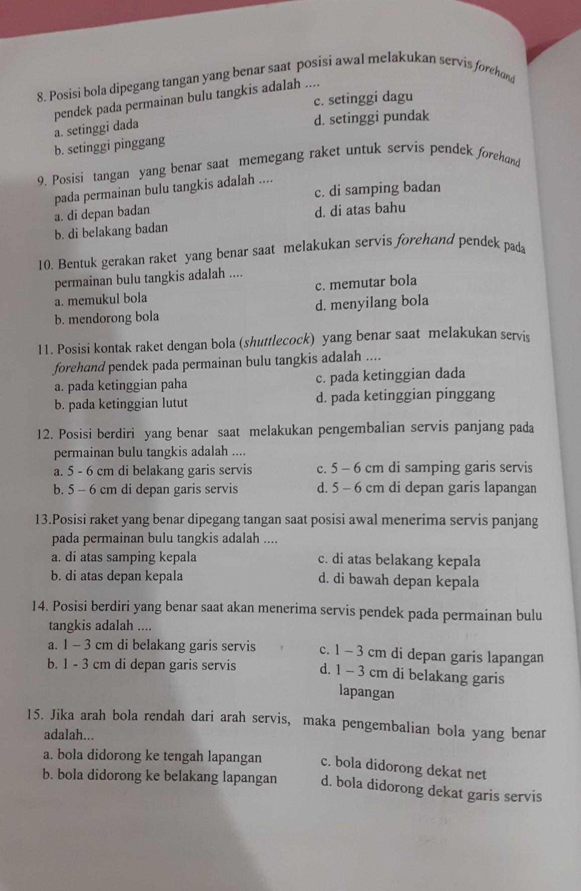Jawaban Buku Paket Pjok Kelas 8 Halaman 124 Brainly Co Id