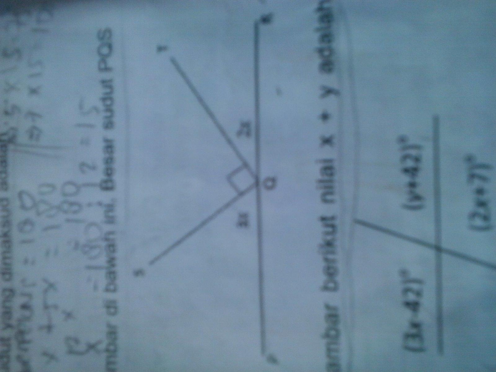 perhatikan gambar di bawah ini.Besar sudut PQS adalah ...