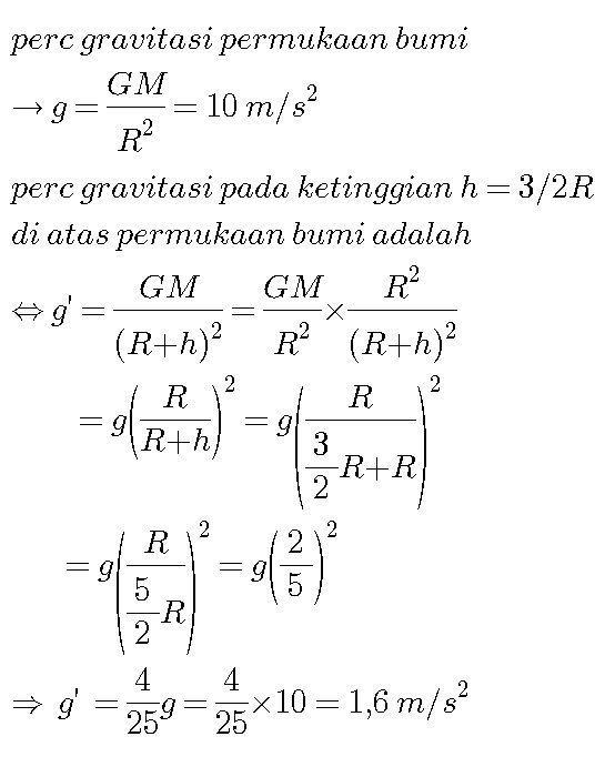 Jika percepatan gravitasi pada permukaan bumi adalah 10 ...