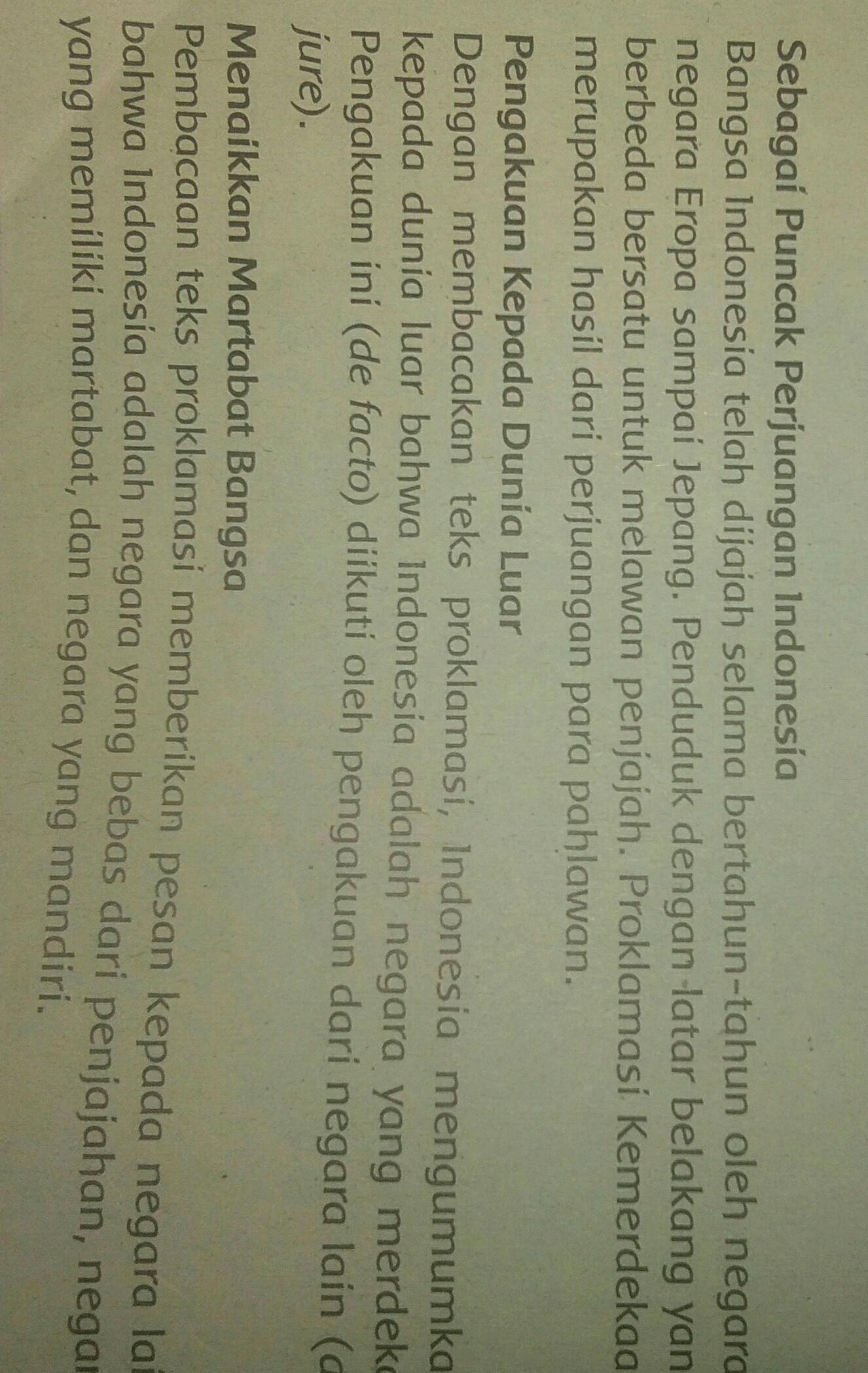 Apa Makna Proklamasi Kemerdekaan???Tulis lah paling Sedikit 4 Makna Proklamasi Kemerdekaan ...