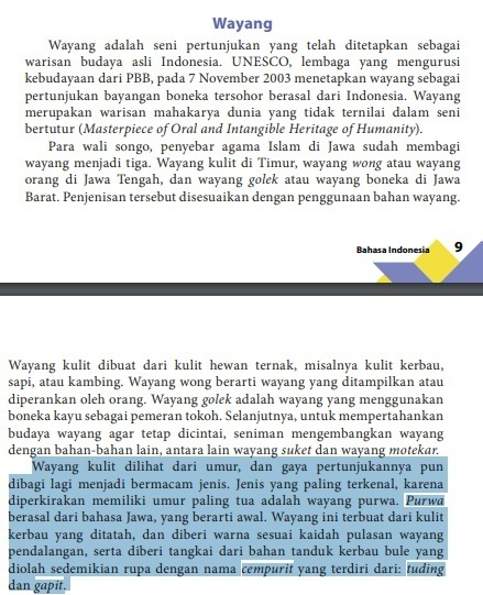 Kata Nomina Dan Frasa Nomina Dalam Teks Wayang Paragraf 3 Brainly