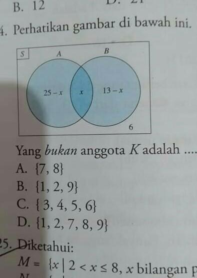yang bukan anggota K adalah..a.{7,8}b.{1,2,9}c.{3,4,5,6}d ...