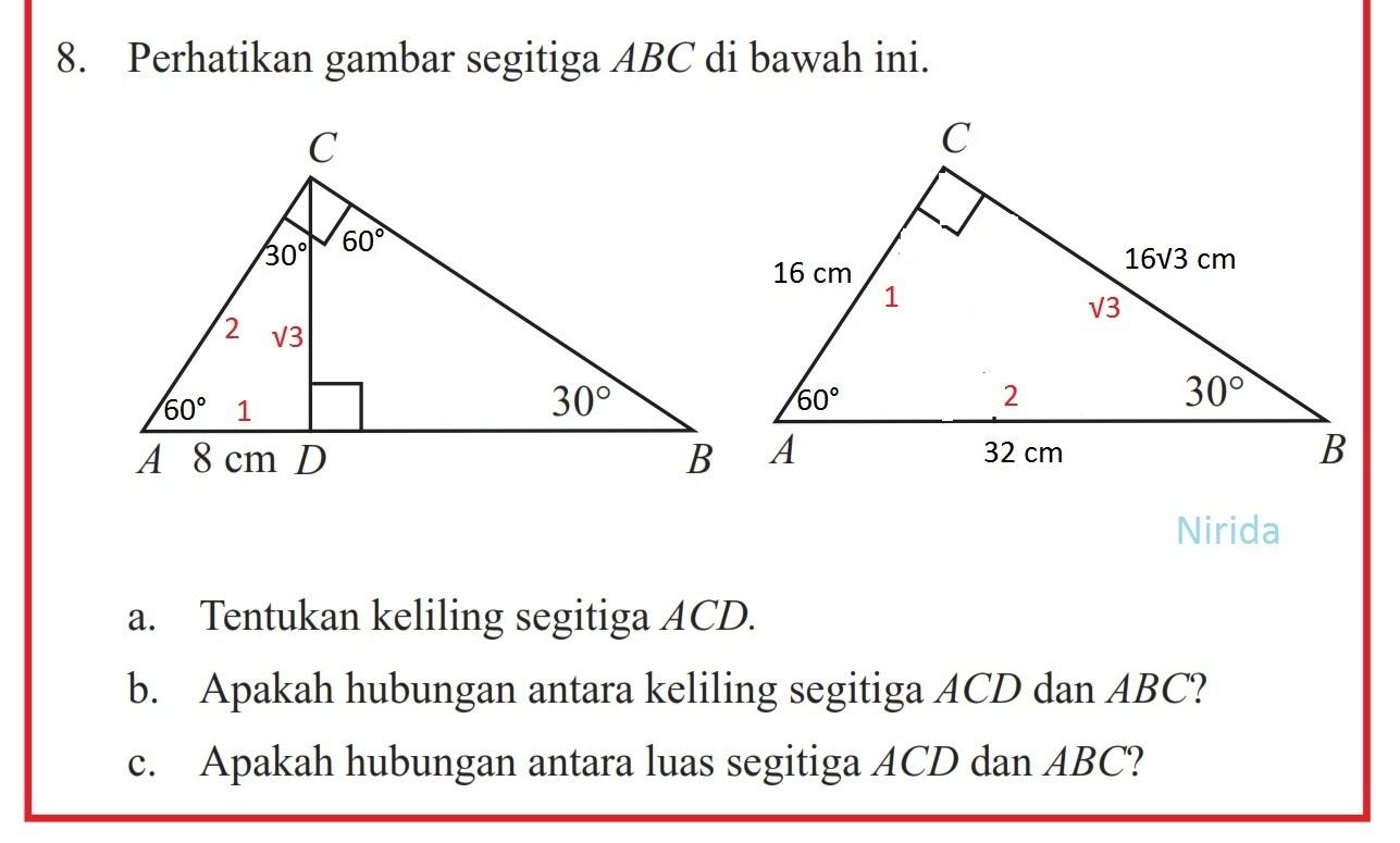 Perhatikan gambar segitiga ABC di bawah ini. A.tentukan ...