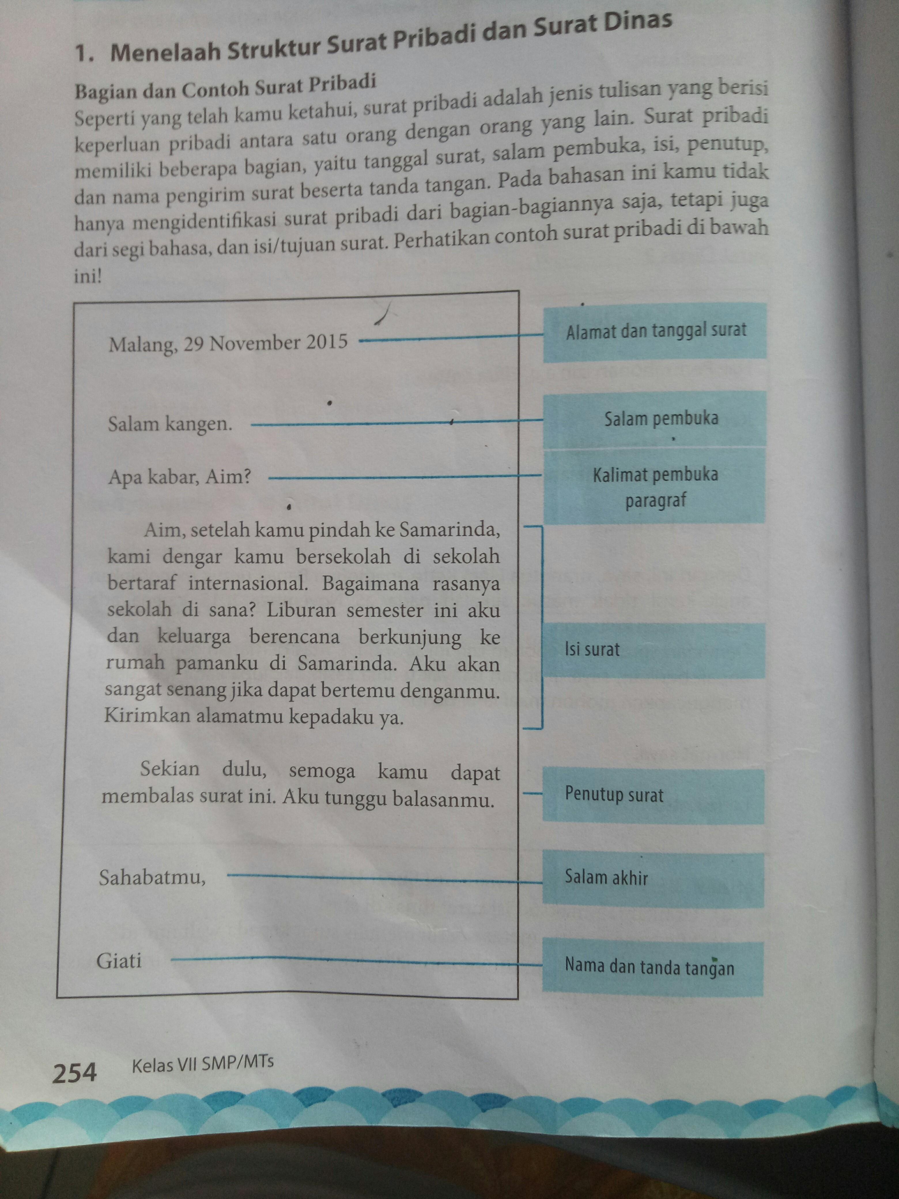 Contoh unsur Surat pribadi Dan Surat dinas - Brainly.co.id