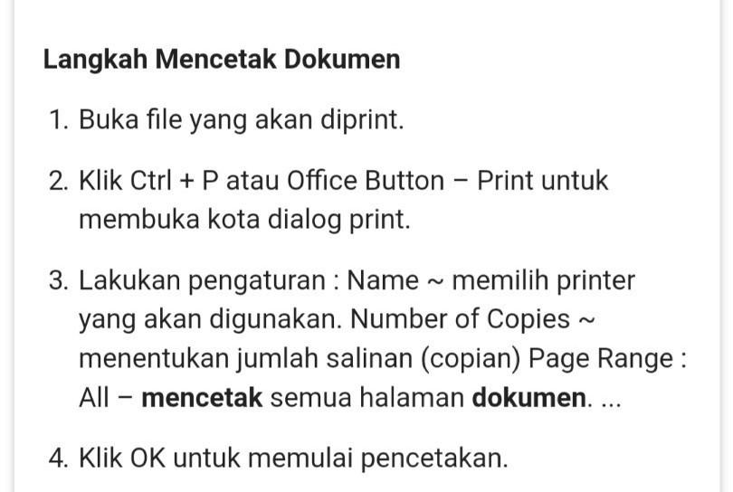 Sebutkan Langkah Langkah Mencetak Dokumen - Dokumen Pilihan