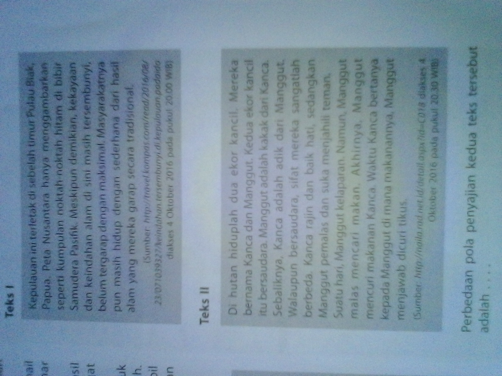 Teks Satu Teks 2 A Dg Deskripsi Alam Orientasi B Deskripsi