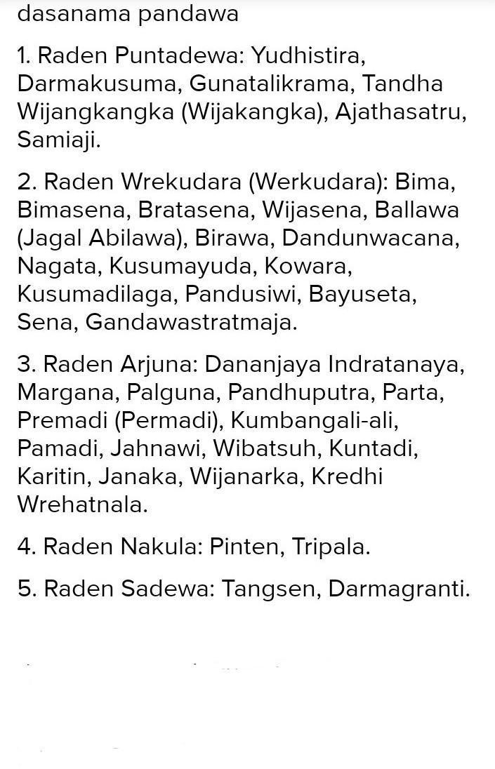 Paraga Wayang 1 Raden Permadi Kasatriyan 2 Raden Werkudara Kasatriyan 3 Puntadewa Brainly Co Id