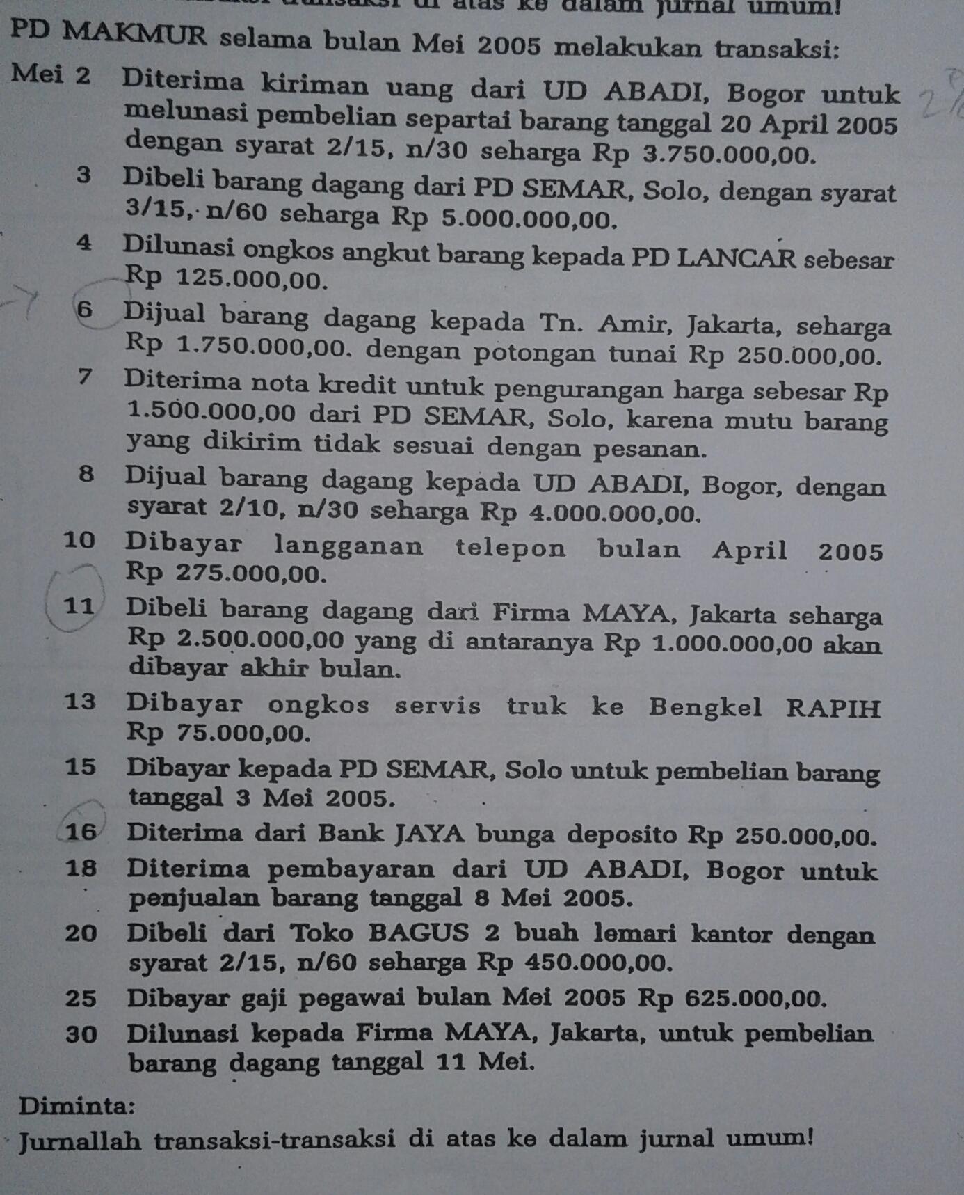 Transaksi Pd Makmur Selama Mei 2005 Tanggal 6 Dijual Barang Dagang Kepada Tn Amir Jakarta Brainly Co Id