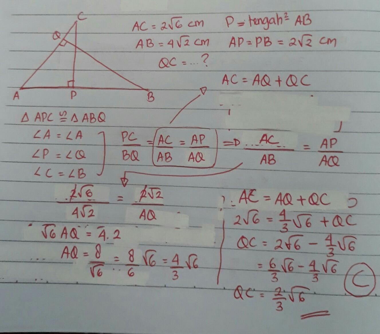 Perhatikan gambar dibawah ini. Misalkan AC = 2√6 cm dan AB ...