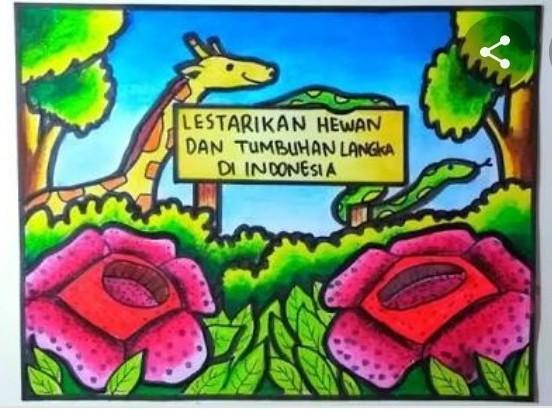 Poster Pelestarian Hewan Dan Tumbuhan Langka Di Indonesia Lukisan