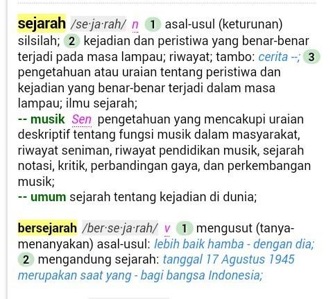 Jelaskan 3 Definisi Umum Sejarah Dalam Kamus Besar Bahasa Indonesia Brainly Co Id