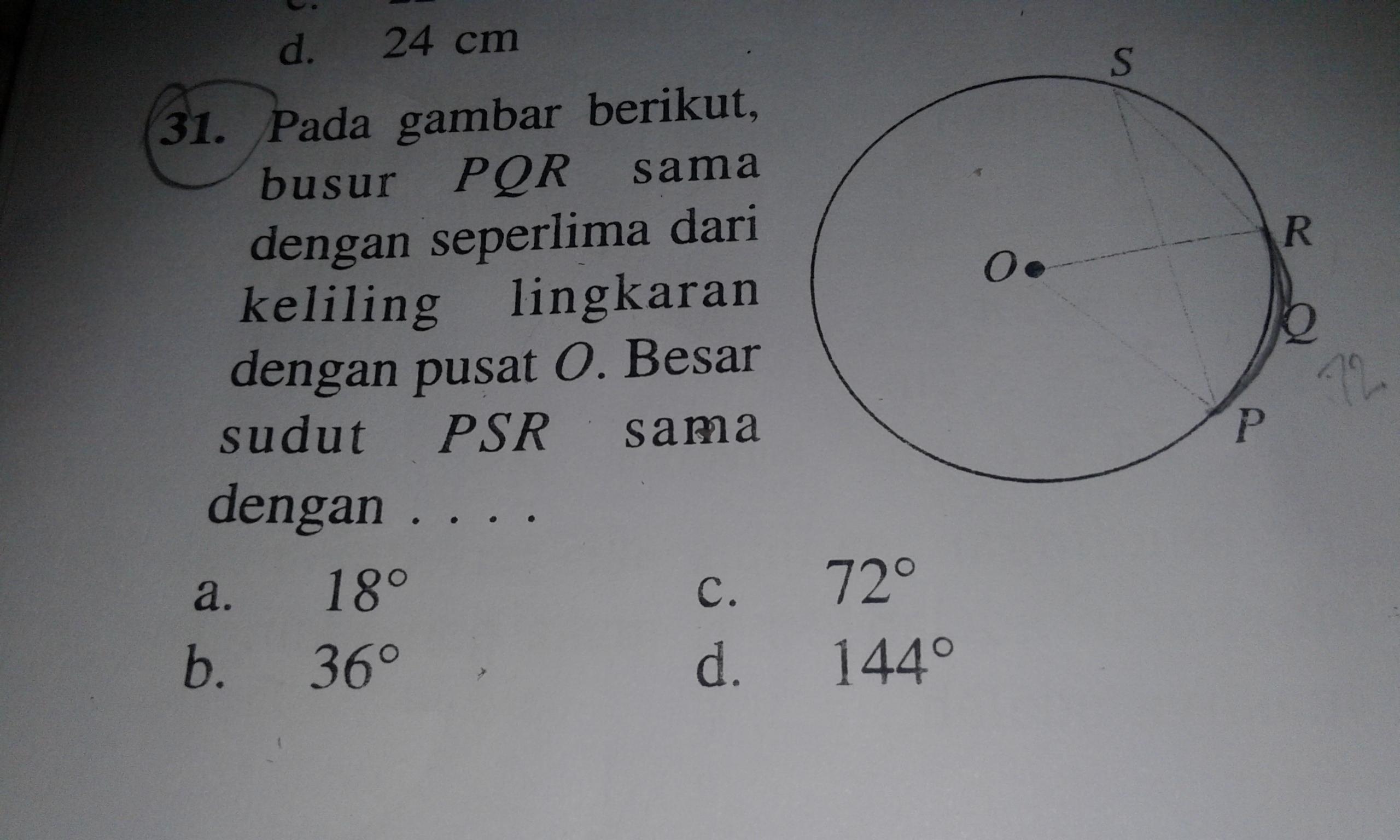 pada gambar berikut busur PQR = seperlima dari keliling ...