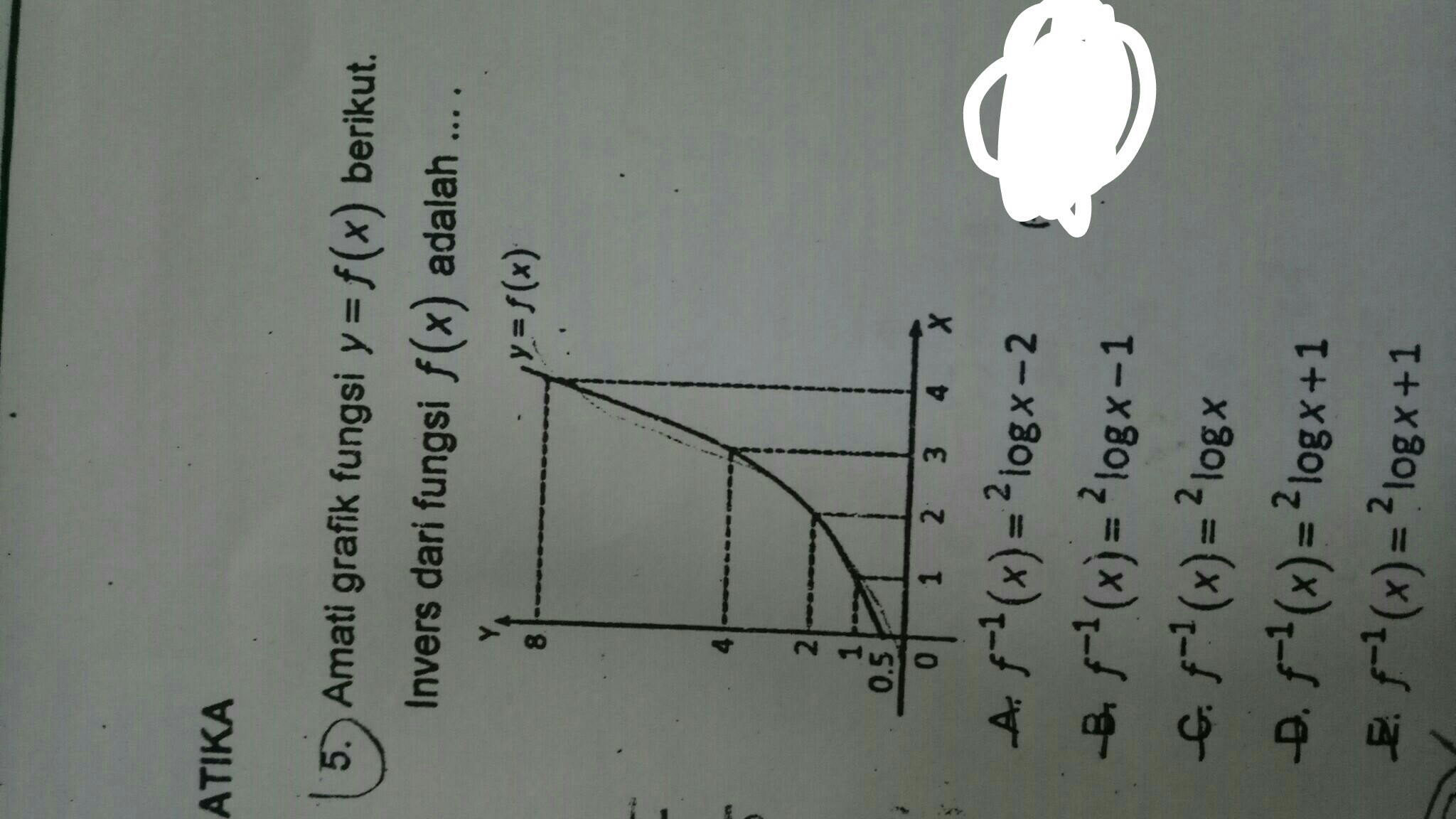 amati grafik fungsi y=f(x) berikut. Invers dari fungsi f(x ...