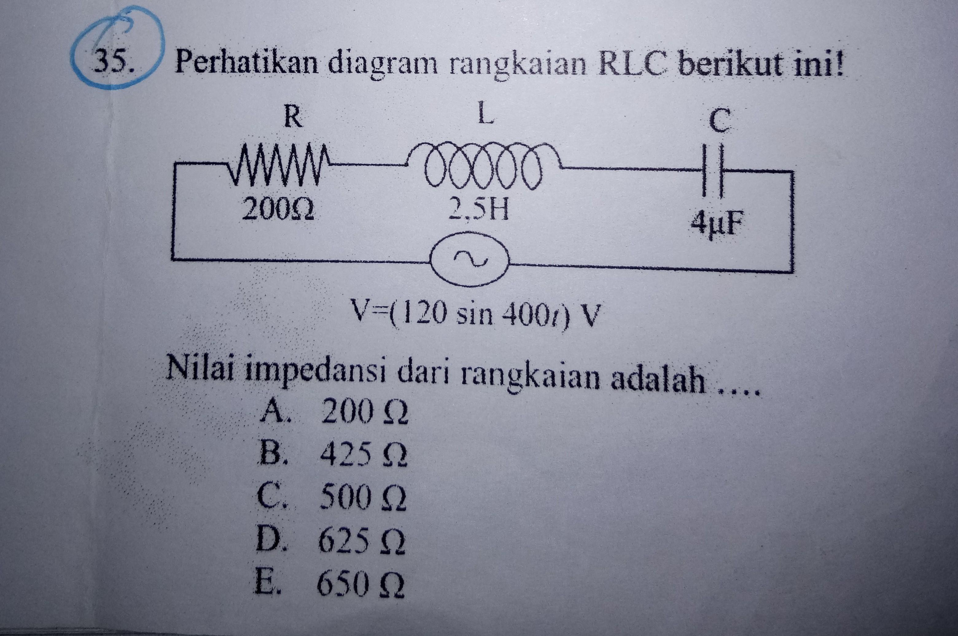 Perhatikan Diagram Rangkaian Rlc Berikut Ini Nilai Impedansi