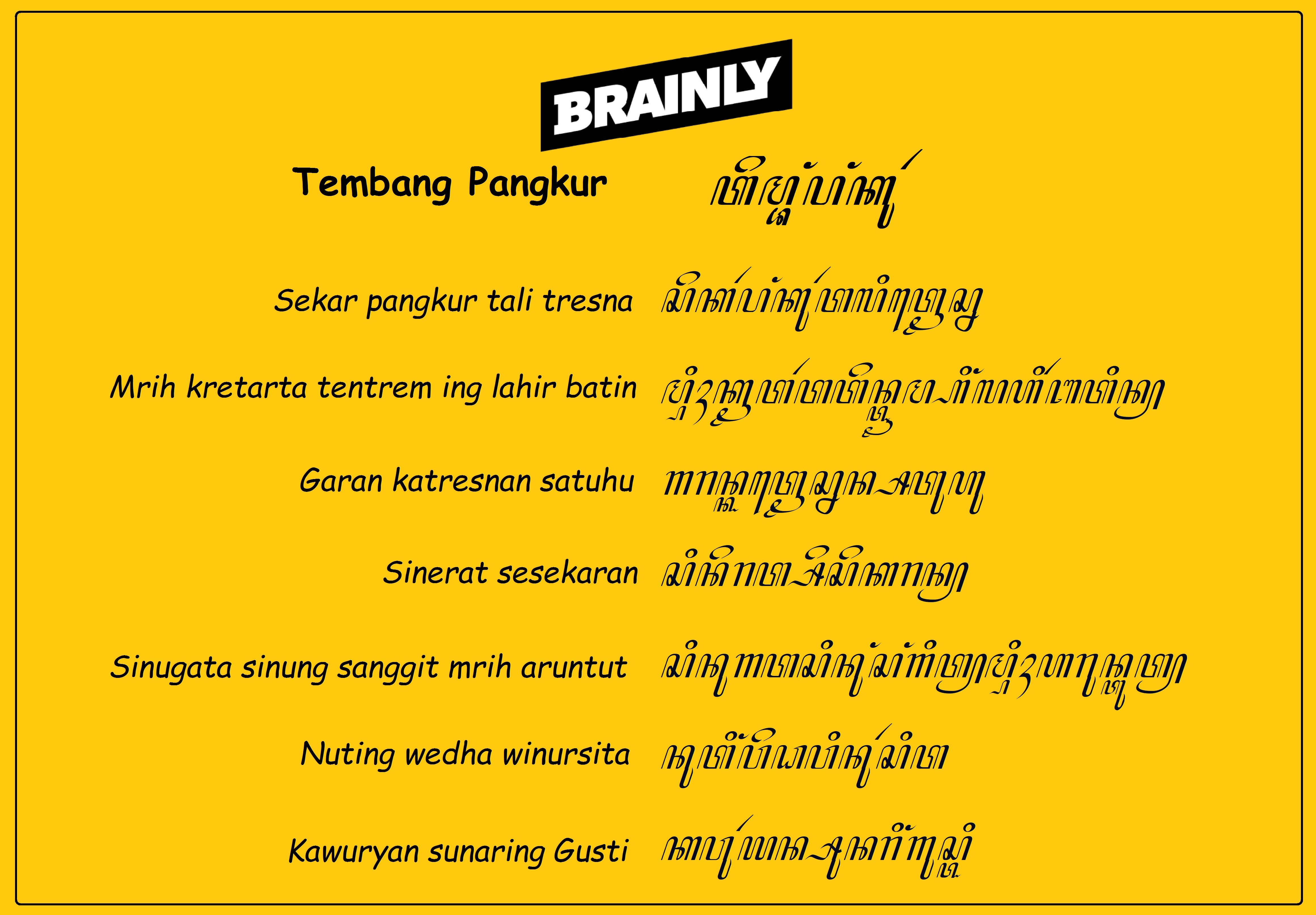 Tuliskan Dalam Aksara Jawa Tembang Pangkur Brainly Co Id