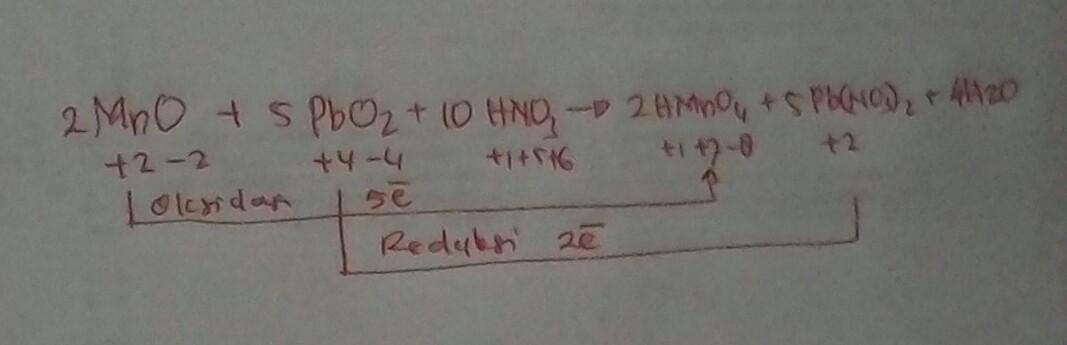 Diketahui Reaksi Redoks 2mno 5pbo2 10hno3 Gt 2hmno4 5pb No3 2 4h2o Tentukan A Perubahan Brainly Co Id