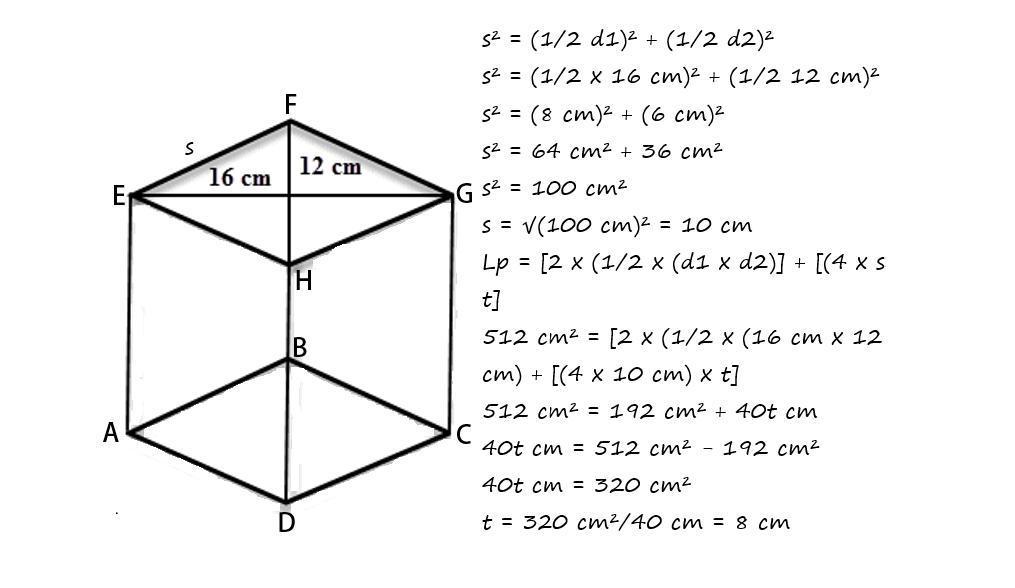 Sebuah Prisma Alasnya Berbentuk Belah Ketupat Panjang Diagonal 16 Cm Dan 12 Cm Perhatikan Gambar Brainly Co Id