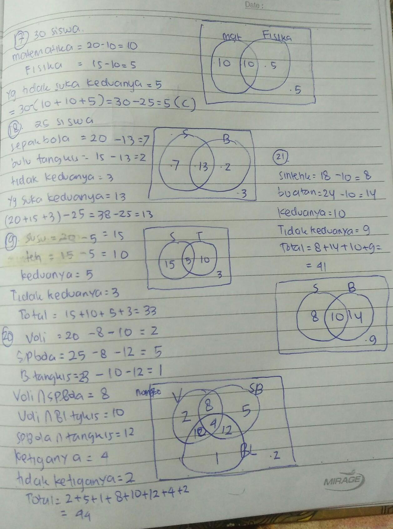 Jawaban Dari Buku Paket Matematika Kelas 7 Semester 1 Halaman 188 189 Nomor 17 21 Soal No 17 21 Brainly Co Id