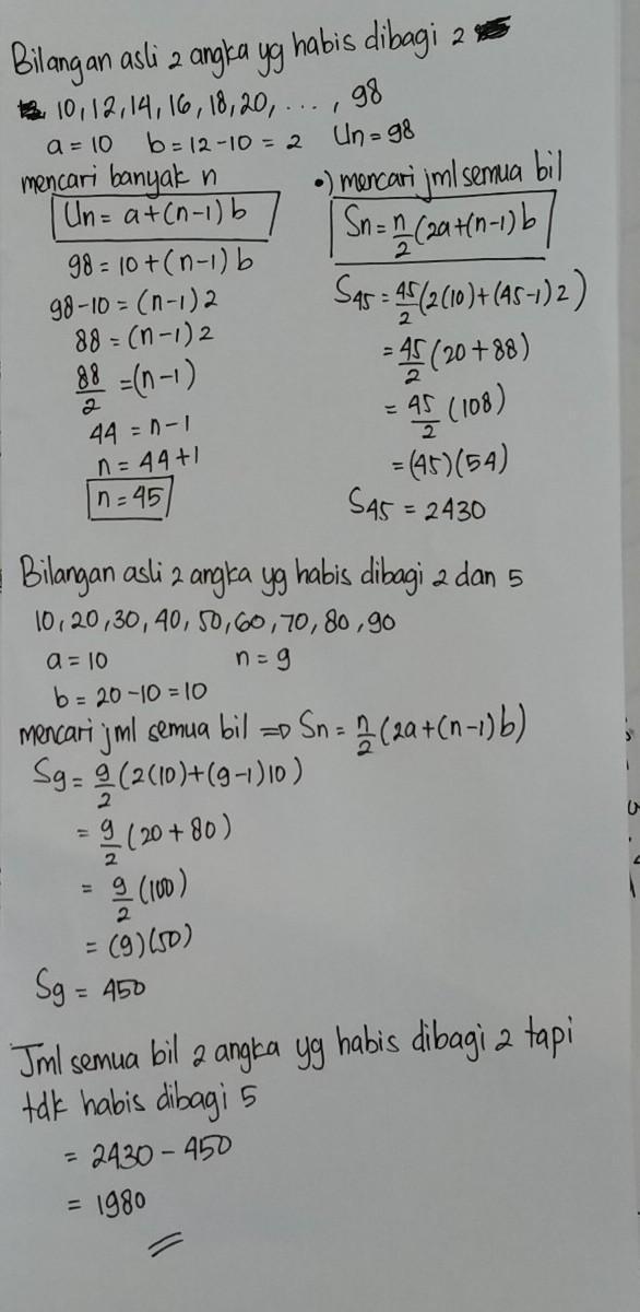Jumlah semua bilangan asli yang terdiri dari dua angka ...