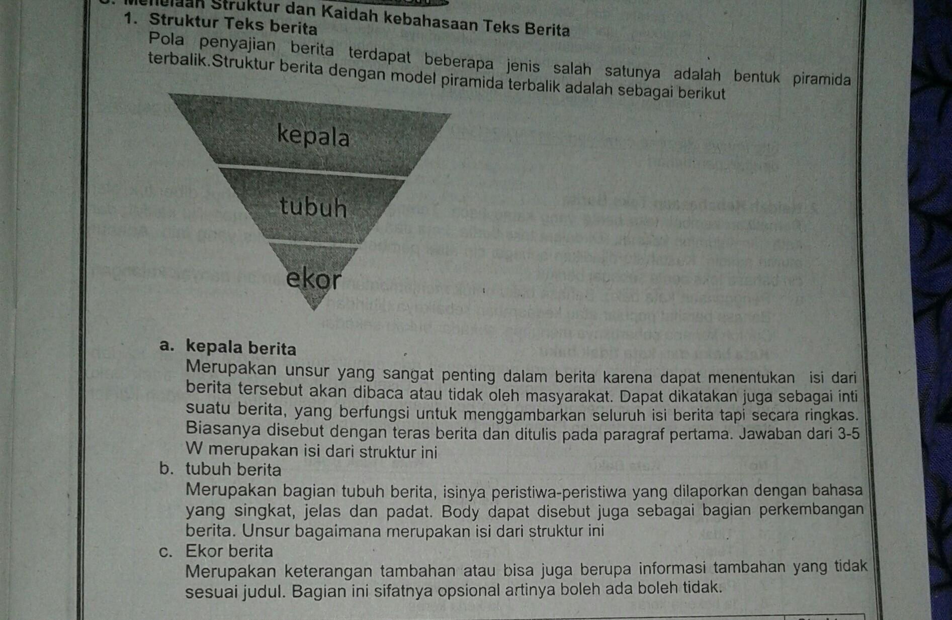 Jelaskan Struktur Teks Berita Piramida Terbalik Brainly Co Id
